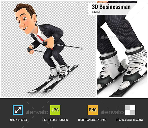 3D Businessman Skiing - Characters 3D Renders