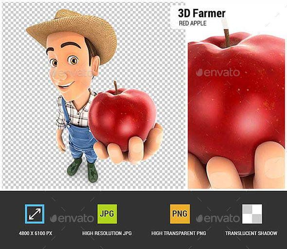 GraphicRiver 3D Farmer Holding Red Apple 20578723