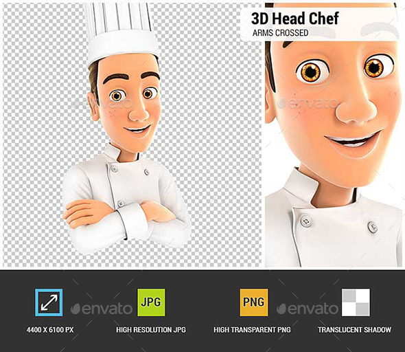 3D Head Chef with Arms Crossed - Characters 3D Renders