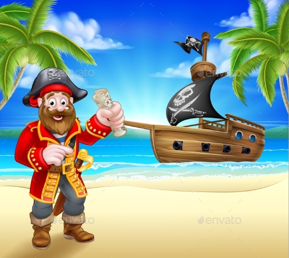 GraphicRiver Pirate Cartoon Character on Beach 20578758