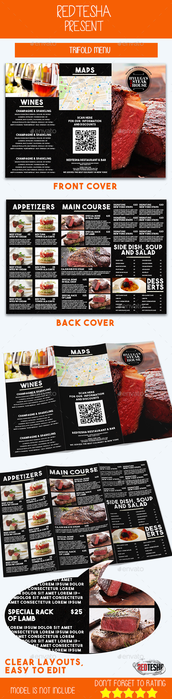 Tri-fold Menu - Food Menus Print Templates