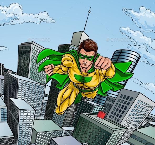 GraphicRiver Flying Superhero City Scene 20578791