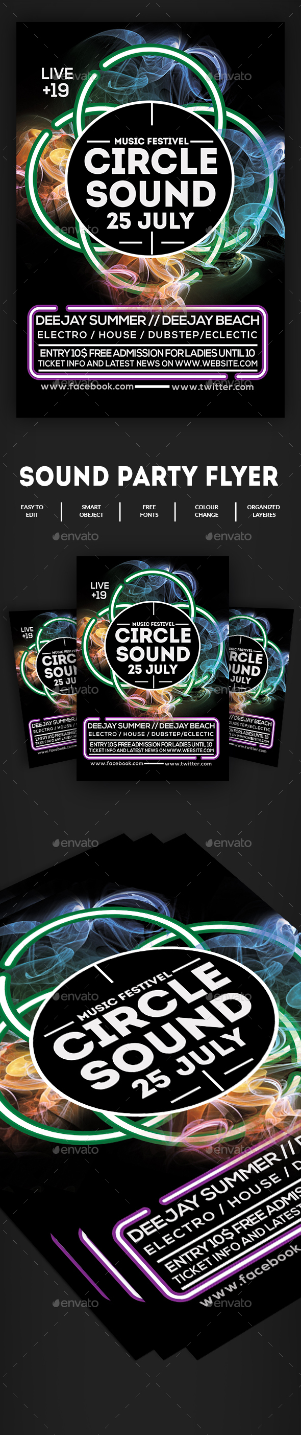 Circle Sound Flyer Template - Clubs & Parties Events