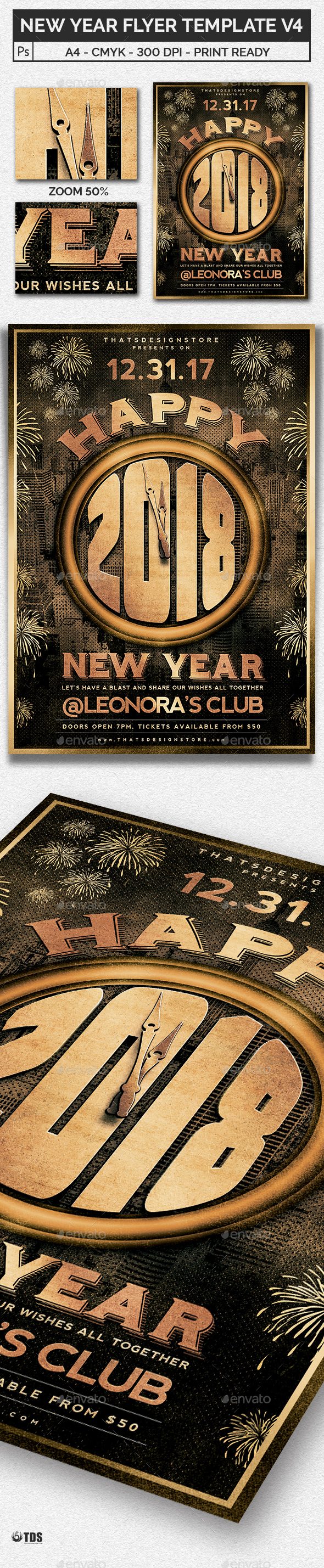 New Year Flyer Template V4   Clubs U0026 Parties Events
