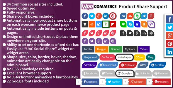 CodeCanyon UonCyber All in One Social Share Wordpress Plugin with Woocommerce product share support 20485309