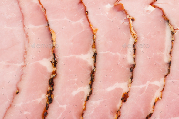 slices of smoked pork fillet pink texture background - Stock Photo - Images