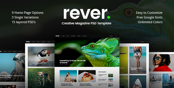 Rever - Creative Magazine PSD Template - Creative PSD Templates