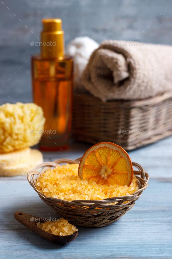 Orange Spa and wellness setting - Stock Photo - Images