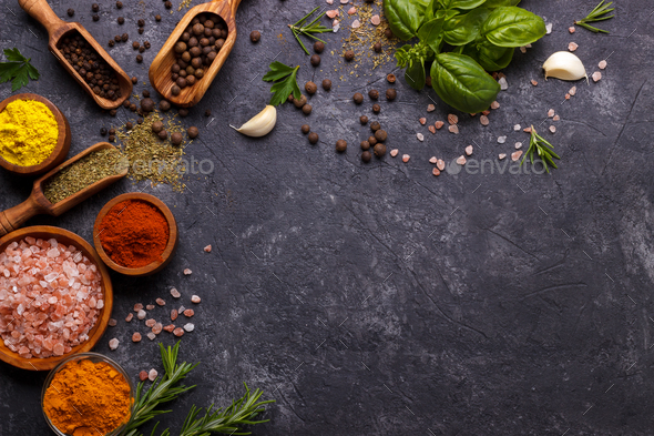 Herbs and spices over black - Stock Photo - Images