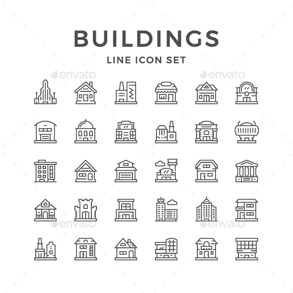 GraphicRiver Set Line Icons of Buildings 20580359