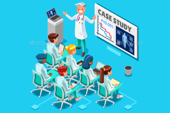 Clinic Medical Research Isometric People Vector - Health/Medicine Conceptual