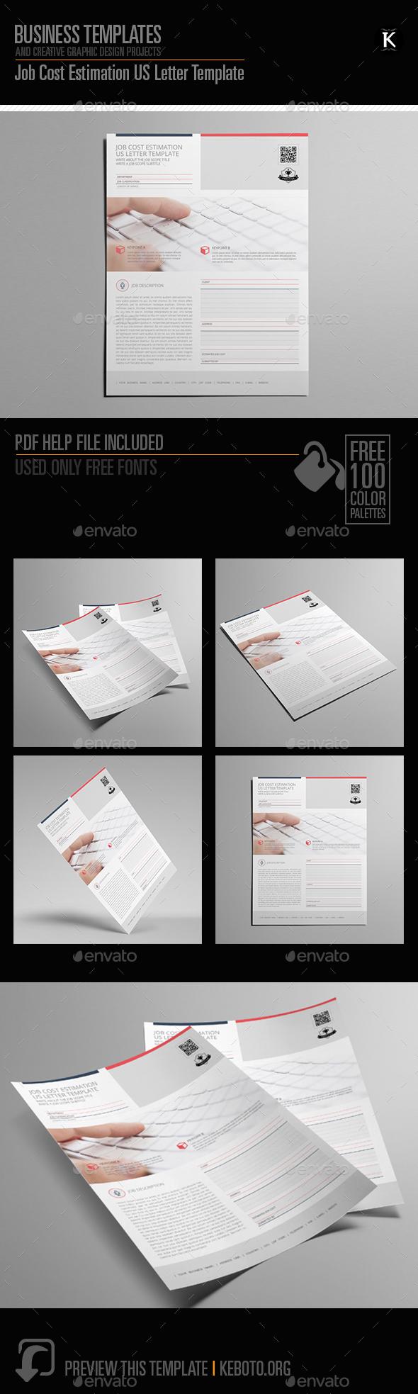 GraphicRiver Job Cost Estimation US Letter Template 20580791