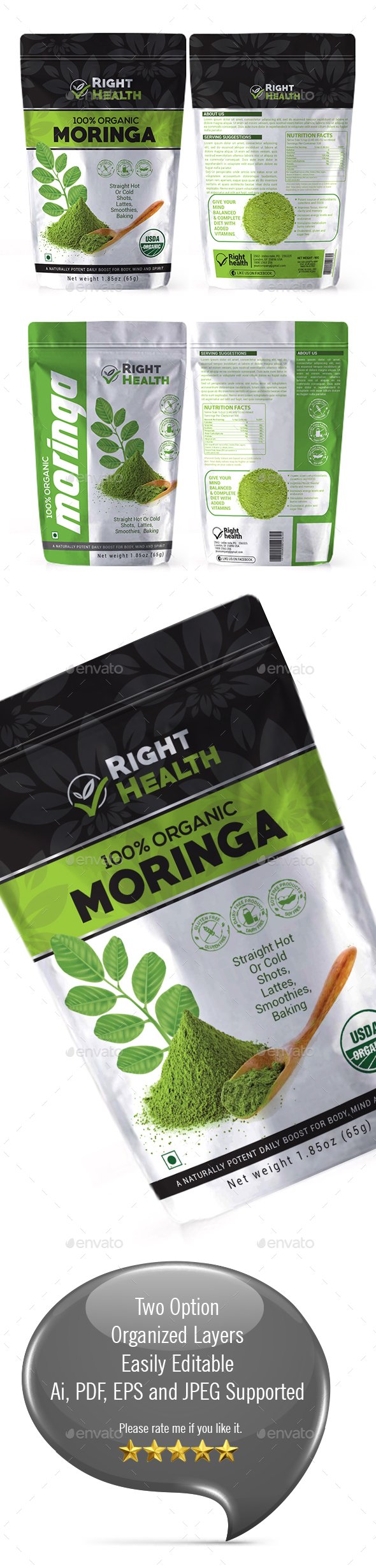 Moringa Powder Bag Packaging Template vol 1 - Packaging Print Templates