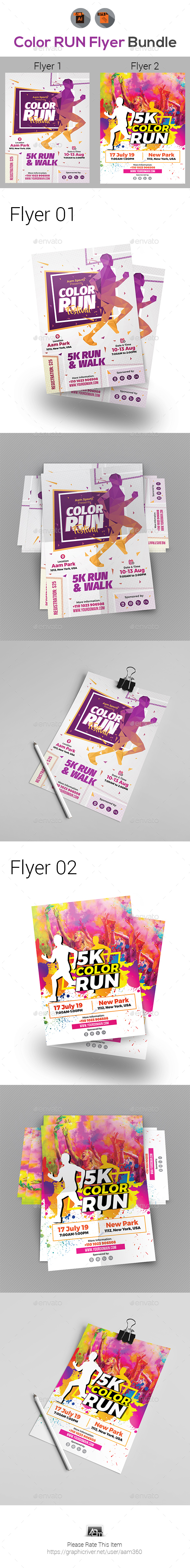 GraphicRiver Color Run Event Flyer Bundle 20580903
