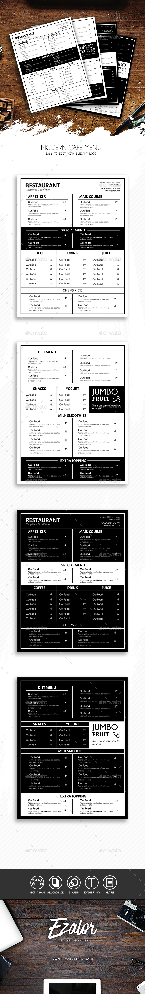 Modern Cafe - Food Menus Print Templates