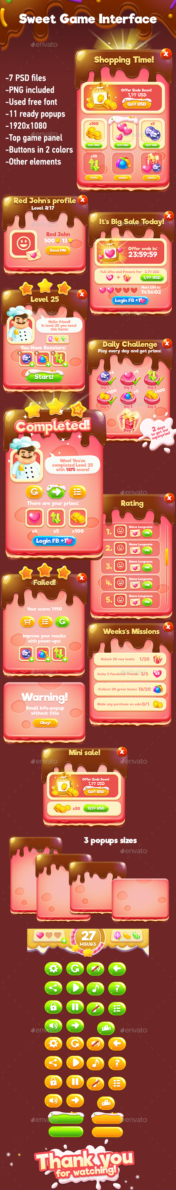 GraphicRiver Sweet Match-3 Game Interface 20581001