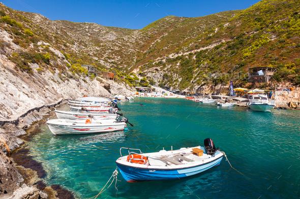 view of Porto Vromi beach in Zakynthos (Zante) island, in Greece - Stock Photo - Images