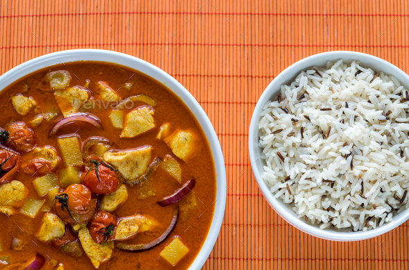Thai yellow curry with chicken and rice - Stock Photo - Images