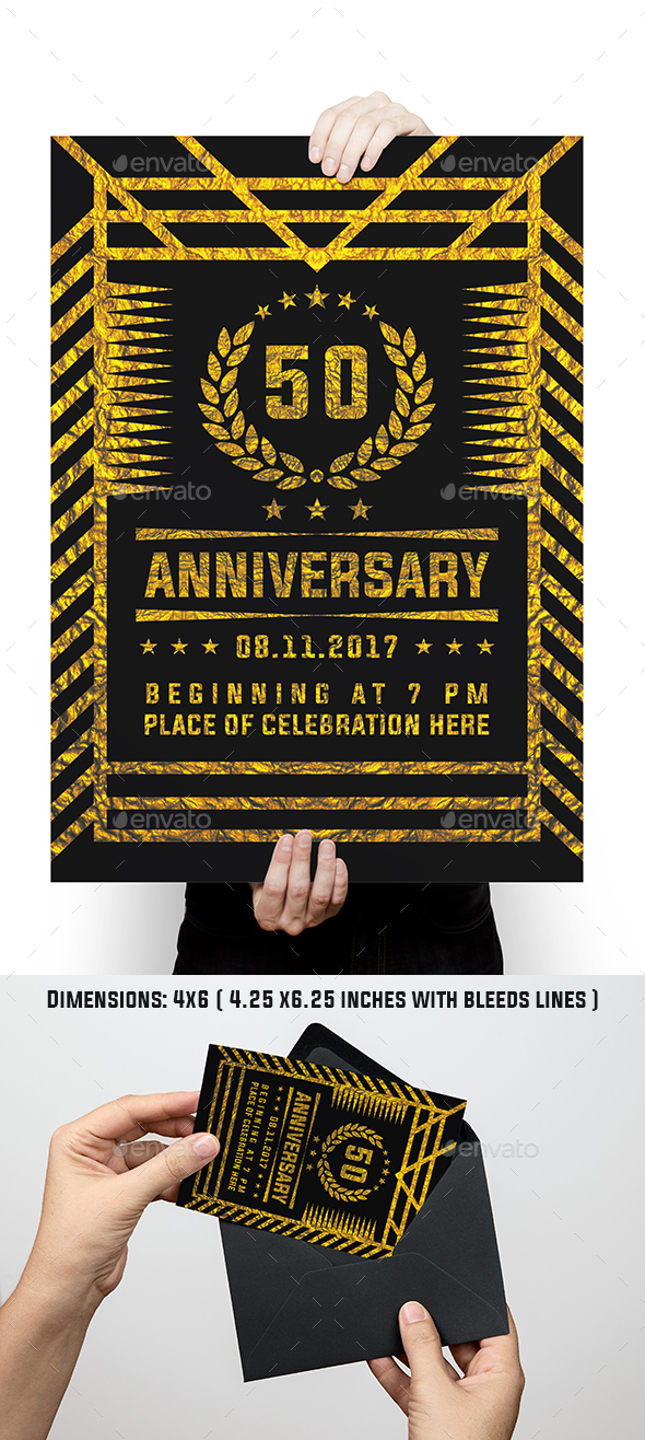 GraphicRiver Luxury Golden Anniversary Flyer 20581338