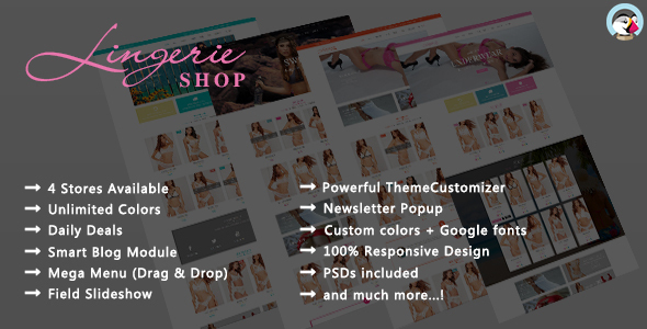 Image of Lingerie Shop - Responsive Prestashop Theme