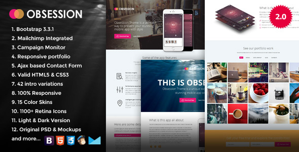 Obsession - Responsive Bootstrap App Landing Page - Marketing Corporate