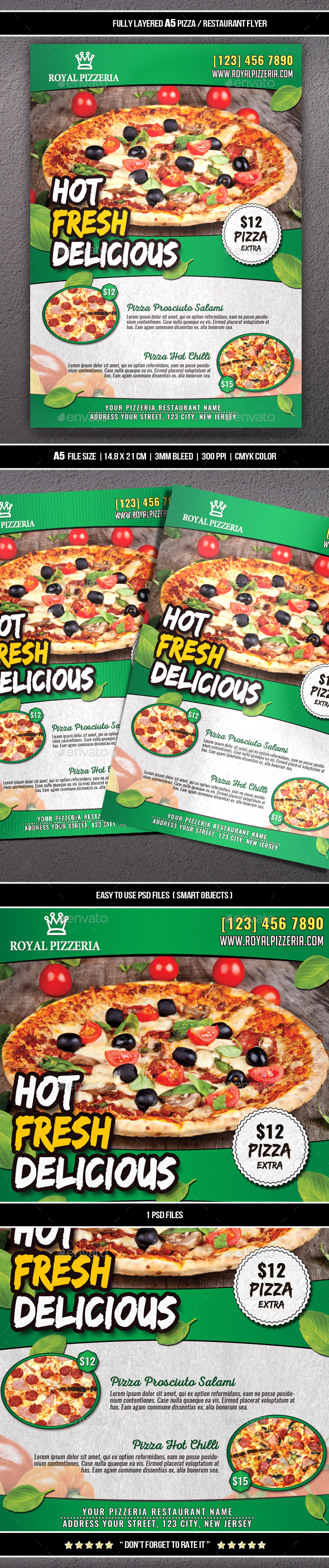 GraphicRiver Pizza Restaurant Flyer A5 20581819