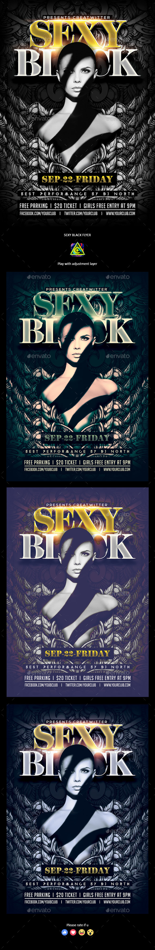 Sexy Black Flyer - Clubs & Parties Events