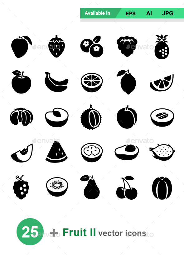 Fruit II Vector Icons - Food Objects
