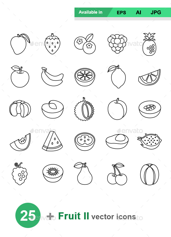 Fruit II outlines vector icons - Food Objects