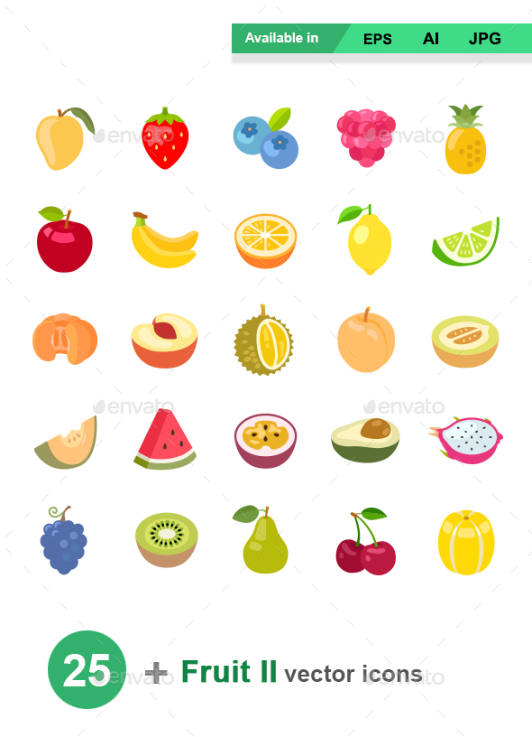 Fruit II color vector icons - Food Objects