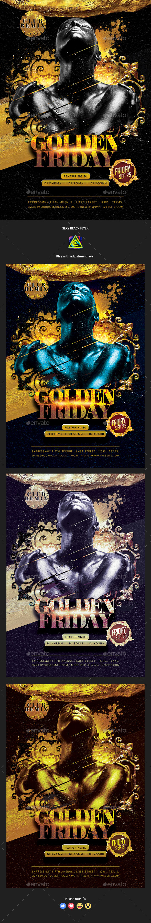 Golden Friday Flyer - Clubs & Parties Events