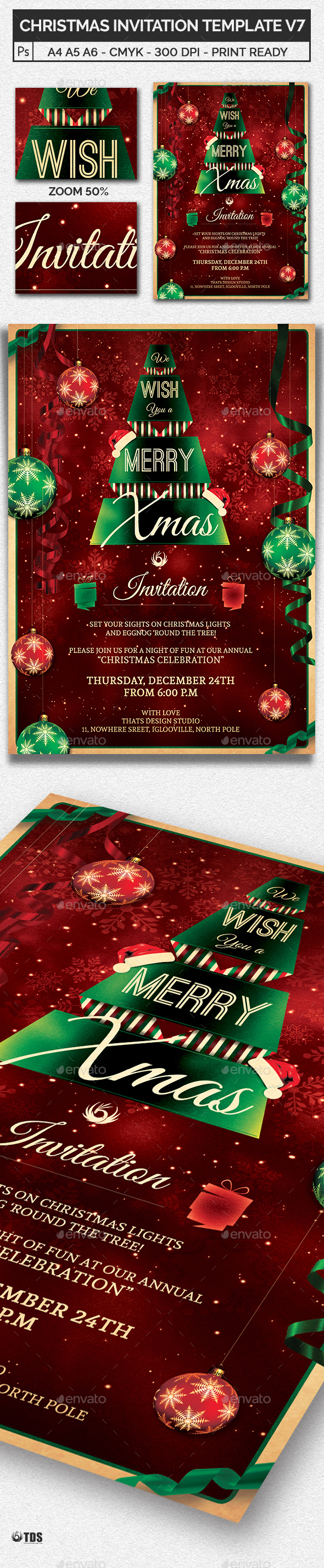 Christmas Invitation Template V7 - Invitations Cards & Invites