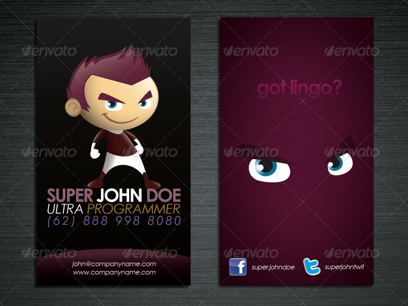 Cartoon superhero business card maker by louisdavilla graphicriver cartoon superhero business card maker colourmoves