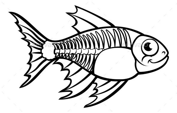 XRay Tetra Fish Cartoon Character - Animals Characters