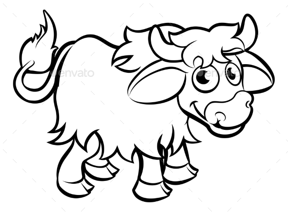 Yak Cartoon Character - Animals Characters