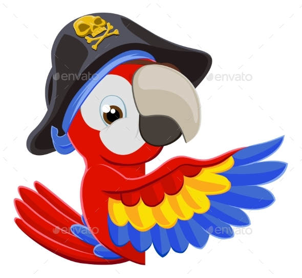 Peeking Cartoon Pirate Parrot - Animals Characters