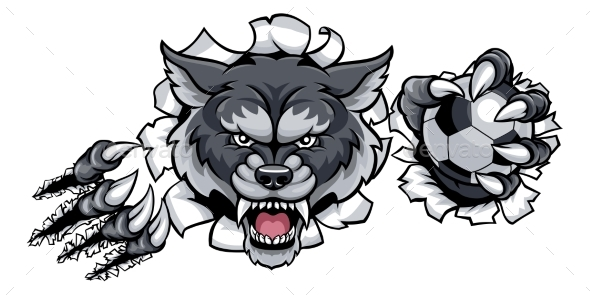 Wolf Soccer Mascot Breaking Background - Animals Characters