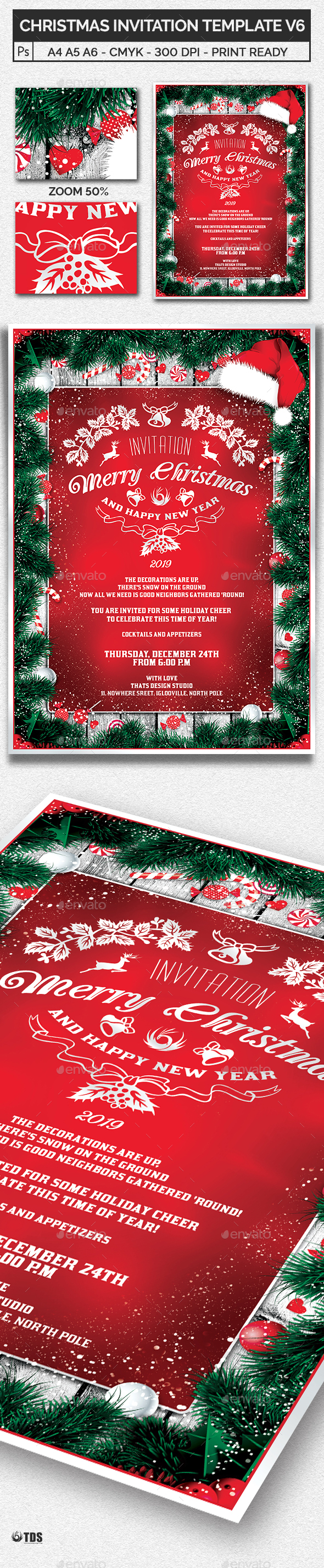 Christmas Invitation Template V6 - Invitations Cards & Invites
