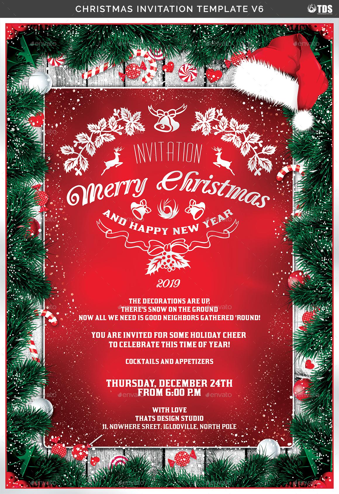 Christmas Invitation.Christmas Invitation Template V6