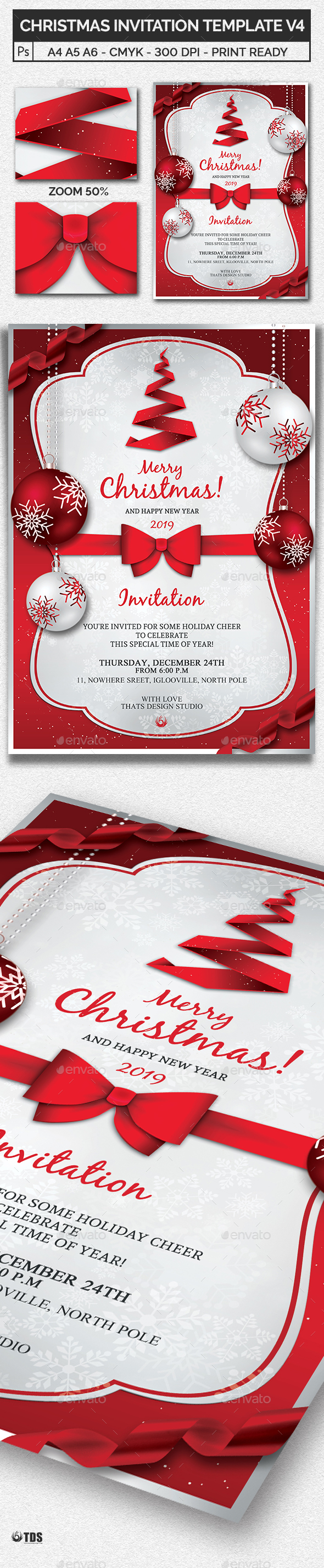 Christmas Invitation Template V4 - Invitations Cards & Invites