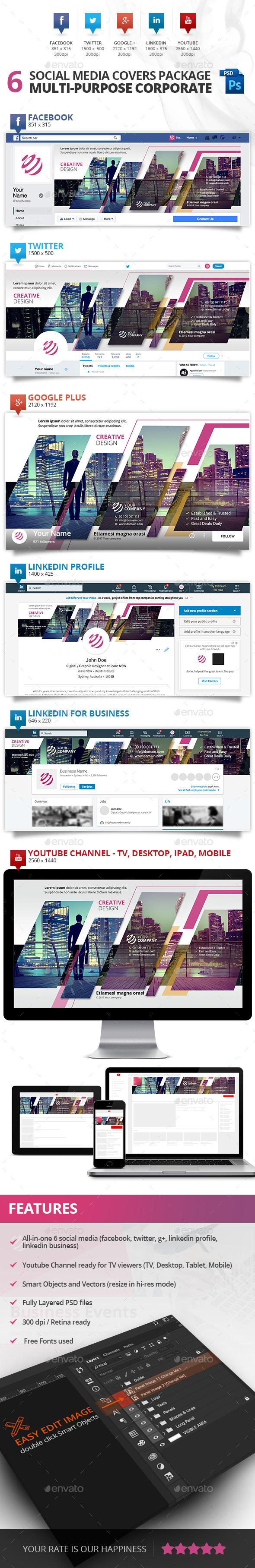 GraphicRiver 6 Social Media Multi-purpose Professional Covers 20582504