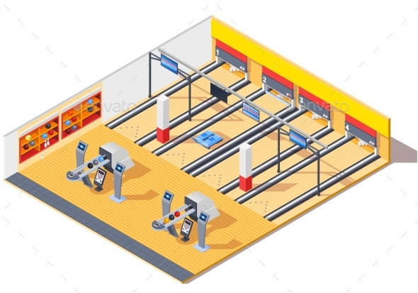 Bowling Club Isometric Interior Design - Sports/Activity Conceptual