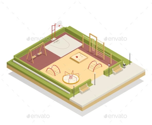 Kids Playground Isometric Mockup - Sports/Activity Conceptual