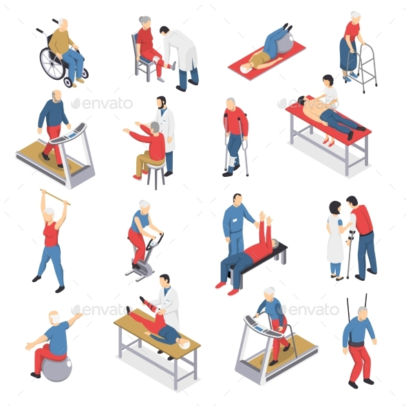 Rehabilitation Physiotherapy Isometric Icons Set - People Characters