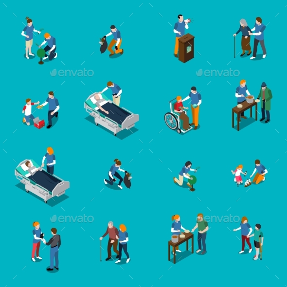 GraphicRiver Volunteer Charity Isometric People Set 20582533