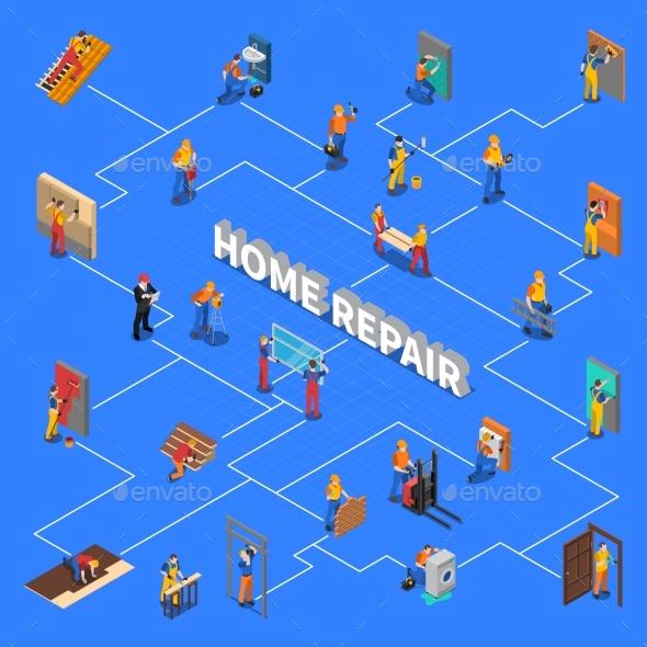 GraphicRiver Home Repair Worker People Flowchart 20582537