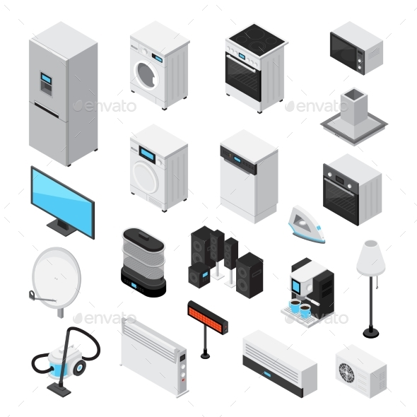 Household Appliances Isometric Icons Set - Man-made Objects Objects