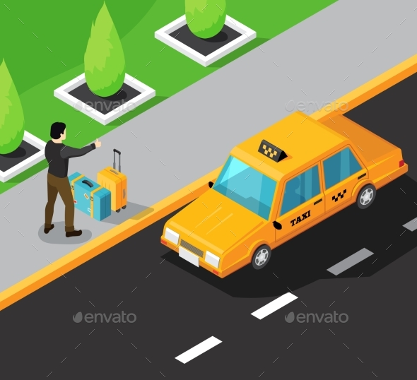 Taxi Service Isometric Background - Industries Business