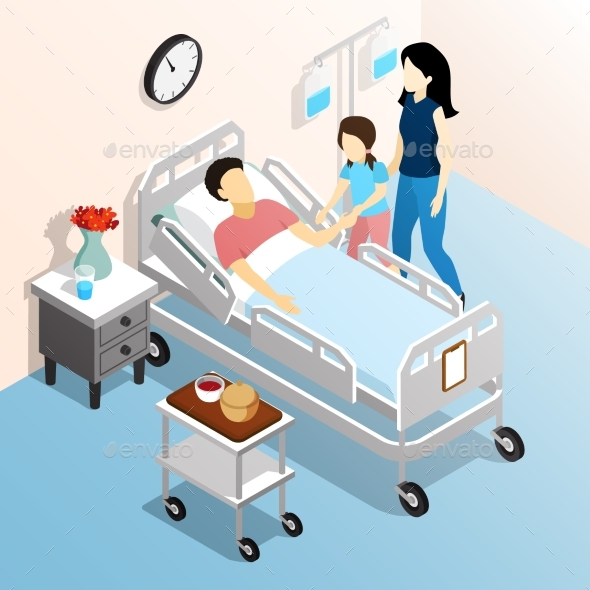 People in Hospital Isometric Design Concept - Health/Medicine Conceptual