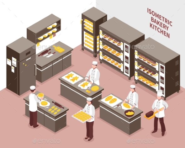 Isometric Bakery Illustration - Food Objects